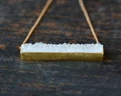 White Druzy Bar Necklace, Sparkly Drusy, Gold Vermeil Setting, Druzy Bar, Gemstone Necklace, 14k Gold Fill Chain, Layering Necklace