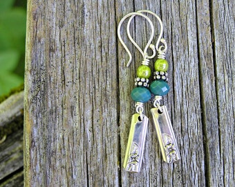 vintage silverware charms, sterling silver and czech glass dangle earrings. teal and green flower earrings. one of a kind. boho earrings.