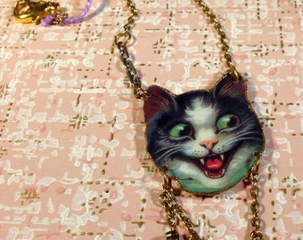 Crazy Cat Necklace tuxedo cat black and white cat green eyed cat cat scratch fever happy cat
