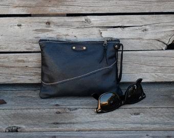 Mini Leather Zippered Purse /  Phone Case / Camera Wristlet / Leather Pouch / Black LeatherPurse / Handmade