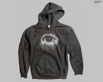 Eye hoodie, black hoodie, mens hoodie, occult clothing, black pullover hoodie, 1AEON Eye unisex Hoodie, S-XXXL