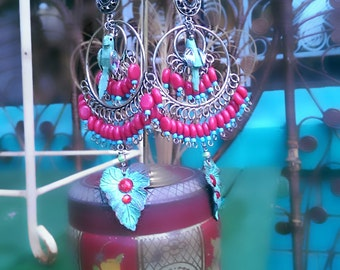 Blue Parrot Earrings, Beaded, Verdigris, Red, Leaves, Large Earrings, Dangle, Boho Earrings, Mexicana