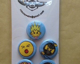 A set of (5) 1 inch Assorted  Emoji buttons