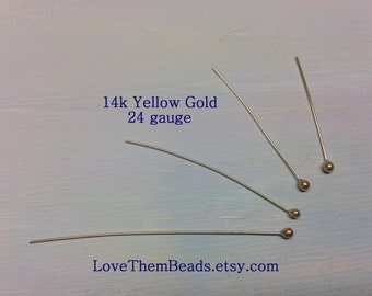 14K yellow gold head pins 24 gauge large ball, balled, ball end, ball tip, headpins, length made to order, real, solid 14k gold findings