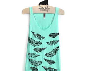SIZE XL- Tri-Blend Mint Racerback Tank with Henna Feathers Screen Print