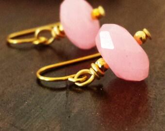 Boho Pink Jade Earrings, Dainty Delicate Gold Earrings, Bohemian Earrings, Gift for Her, Gift for Best Friend, gift for girlfriend