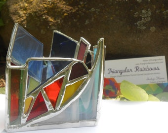 Miniature Edition #2 Triangular Shaped Rainbow Themed Stained Glass Candle Holder small handmade Tealights Only!! office decor home zen yoga