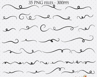 Swashes Clip Art, Decorative Swashes Graphics, Font Swashes, Swashes, PNG Swashes, Digital Scrapbook Elements, Clip Art, Digital Downloads