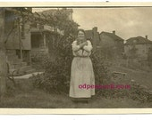 Vintage photo woman with two kittens antique animal image