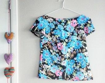 Vintage Top, Vintage Blouse, Floral Blouse, Work Blouse, Office Blouse, Deco, Blue Flowers, Pink Flowers, Ladies Vintage Clothing, Vintage