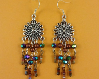 Chandelier Earrings with Electrical Parts - dangly earrings, upcycled resistors, boho bohemian, recycled repurposed, tribal quirky unique