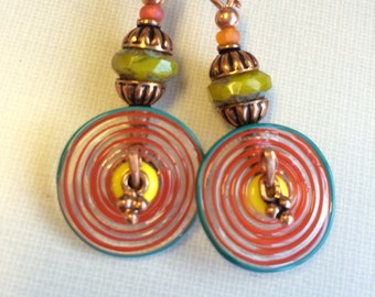 Handmade Lampork discs, olive czech beads copper earrings