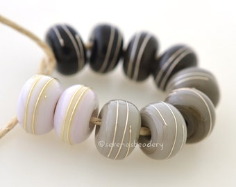 Buyer's CHOICE - Opaque GREY with fine SILVER Wire Wraps - Handmade Lampwork Beads - taneres - Choose glossy or matte