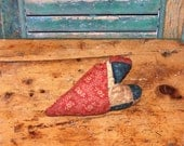 Antique Quilt Heart, Primitive Valentine Heart, WORN OUT Handmade Red Heart, Americana Decor, Primitive Decor Red White Blue - Ready to Ship