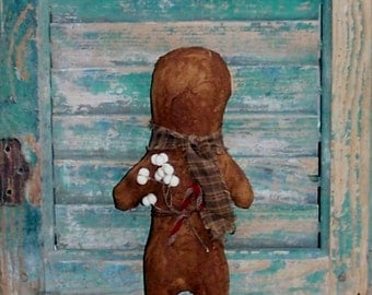 Gingerbread Doll, Primitive Christmas Doll, Mantle Decor, Stocking Stuffer, Handmade Christmas Decor, Brown Homespun Scarf - READY TO SHIP