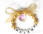 Gold Bracelet with Crystal heart and bow. Gift for little girl Newborn keepsake Communion Gift Baptism Gift or Stocking Stuffer Personalized