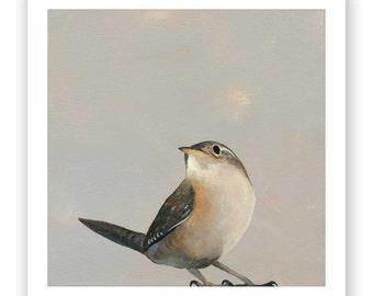 Untitled 8 x 8 Art Print - Bird - Animal - Nature - Wren - Mincing Mockingbird - Gift - Giclee