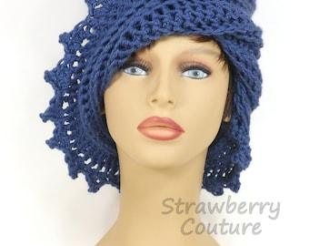 Crochet Hat Winter Hat, Crochet Beanie Hat Womens Winter Hat, Womens Hat Winter Beanie Hat, Dark Country Blue Hat, Lauren Hat