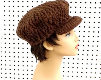 Crochet Hat Womens Hat Trendy,  Womens Crochet Hat,  Crochet Newsboy Hat,  Brown Hat,  CONDUCTRESS,  Newsboy Hat Womens,  Crochet Hat