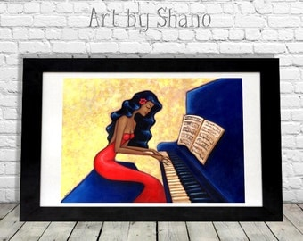 Woman Pianist Print, Piano Teacher Gift for Her, Musician Idea, Music Artwork, Sexy Illustration, Wall Hanging, Living Room Decor, Shano