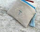 Mini Classic linen monogrammed zipper pouch coin purse