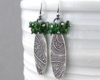 Chrome Diopside Earrings Dangle Silver Earrings Green Earrings Gemstone Cluster Earrings Gemstone Jewelry Unique Silver Jewelry - Lily