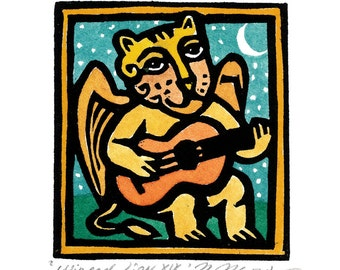 WINGED LION Guitar Playing linocut Aceo greeting card small original artwork