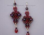 Red Beaded Earrings, Macrame Earrings, Seed Beads, Scarlet Beadwork, Burgundy Earrings, Red and Purple Earrings, Micro Macrame, Fleur style