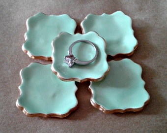 FIVE  Ceramic ring bowls TINY  Mint Green edged in gold