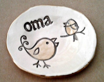 Ceramic Trinket Bowl edged in gold OMA  Mothers day