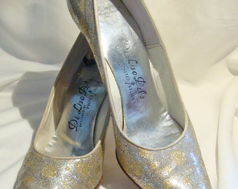 Polka Dot Metallic SILVER and GOLD Glitter Heels 7AAA Pumps Size 1950's 1960s