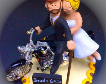 Groom in Top Hat on Harley Davidson Wedding Cake Topper, Bikers Wedding Cake Topper, Motorcycle Wedding Cake Topper, Harley Wedding Cake Top