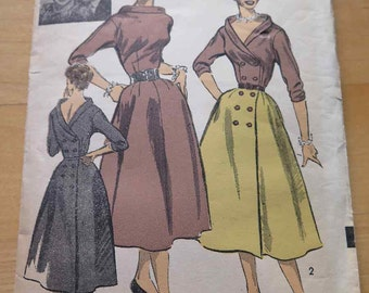 Vintage 50s Lucille Ball Advance 6608 Misses Two Piece Full Skirt Dress Pattern size 12 B 30