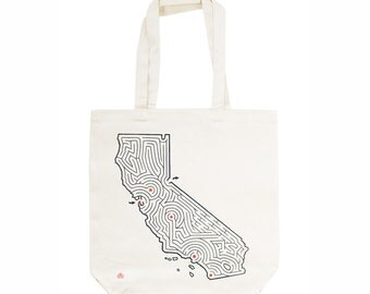 California Map/Maze Tote Bag | Locally Screen Printed on Sturdy Cotton Canvas | San Francisco to Lake Tahoe