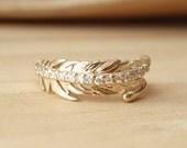 Diamond Feather Ring - Medium