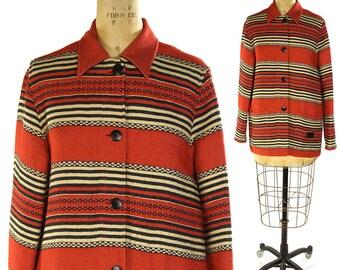 Ralph Lauren Indian Blanket Coat / Vintage 1990s Southwestern Jacket / Ethnic Folk Western Outerwear / Ranch Coat / Small