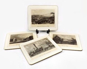 Hardboard Placemats, Saks Fifth Avenue, Set of 4, Victorian British Building Landscape Scenes, Vintage Place Mats, Made in England