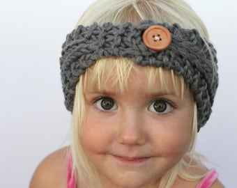 Knit Baby Girl Ear Warmer Headband with Wooden Button