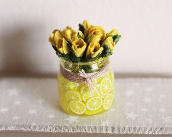 Dolls House Miniature Lemon Flowers Vase