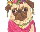 Frida Kahlo Print, Pug Print, Pug Art, Funny Animals, Pug Gifts, Dog Art Print, Dog Lover Gift, Funny Animal Art, College Student Gift