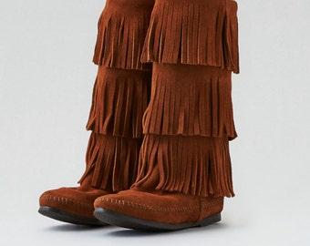MINNETONKA Triple Fringe Boot Leather Size 7