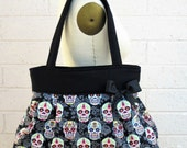 Large Black Sugar Skull Purse,Sugar Skull Diaper Bag, Sugar Skull Handbag, Skull Bag