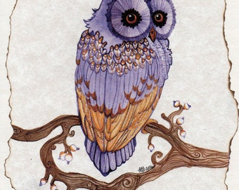 Purple Peace Owl Hand Fired Blank Greeting Card by Carole Anzolletti