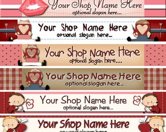 Raggedy Dreams Premade ETSY Shop Banner, SHOP ICON Primitive Valentine Hearts Roses Chocolate Annie