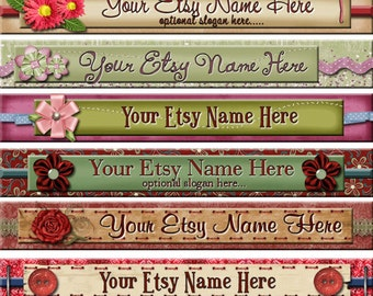 Raggedy Dreams  Designs - Premade Etsy Shop Banner - Etsy Banner - SHOP ICON - Assorted Floral Scrapbook Elements Ribbons Bows