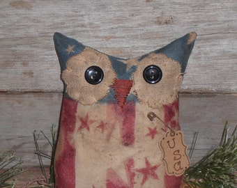 1 Primitive Patriotic Red White and Blue July 4 Americana Owl Doll Ornie Ornament Tuck Shelf Sitter