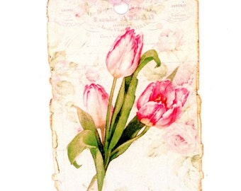 Spring Tulips Gift Tags ,  Shabby Tulip Tags , French Tags , Pink Tulips , Vintage Flowers
