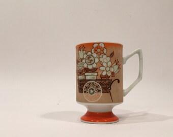 Footed Pedestal Mug ~ Vintage Pedestal Mug ~ Retro Flower Pedestal Mug ~ Footed 1970s Mug