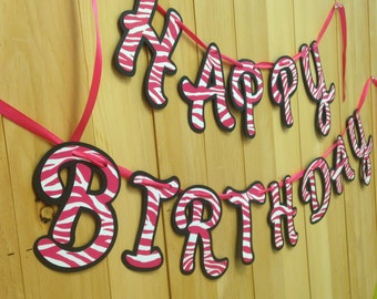HAPPY BIRTHDAY ZEBRA Pink Banner Birthday Decorations