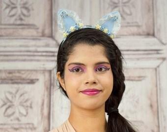 Lolita Cat Ears, Cat Ears, Pastel Blue, Ivory, Costume Cat Ears, Cat Costume, Mori Kei, Lolita, Sweet Lolita, Cat Headband
